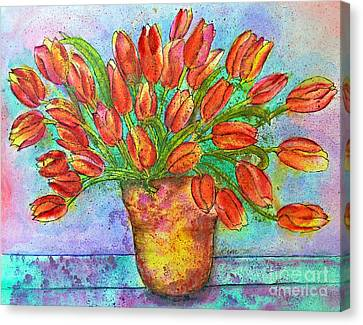 Vase Of Tulips Canvas Print by Dion Dior
