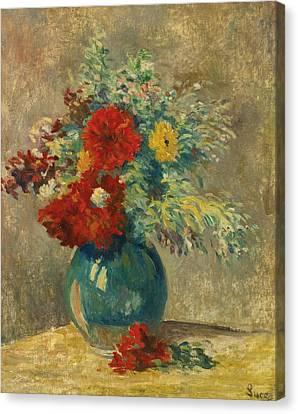 Vase Vert Aux Fleurs Multicolores Canvas Print by Celestial Images