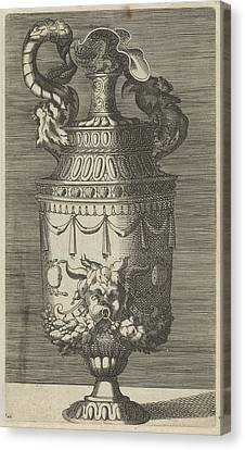 Vase With A Mask, Garlands And Two Crabs Canvas Print