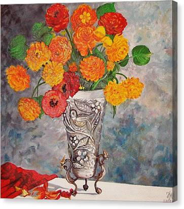 Vase With Bird Canvas Print by Nina Mitkova