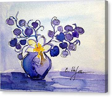 Vase With Flowers Purple Blue Yellow Canvas Print