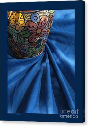 Vase With Swirled Cloth Canvas Print by Patricia Overmoyer