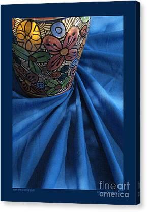Vase With Swirled Cloth Canvas Print