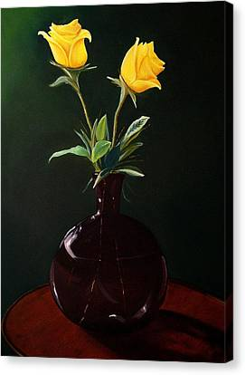 Vase With Yellow Roses Canvas Print