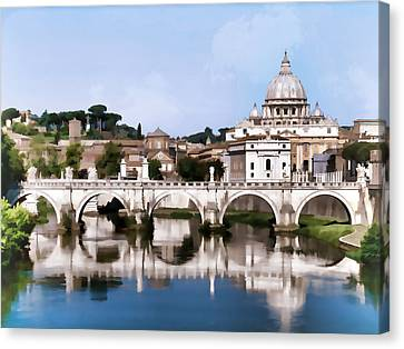 Vatican City Seen From Tiber River In Rome Italy Canvas Print by Elaine Plesser