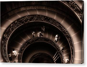 Canvas Print featuring the photograph Vatican Museum Spiral Staircase by Rob Tullis