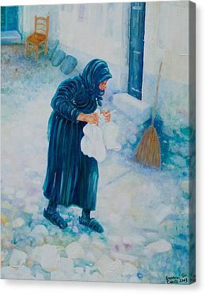 Canvas Print featuring the painting Forenza Vita Nonna Filomena In Blu by Giovanni Caputo