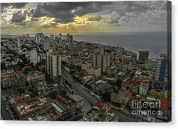 Vedado Havana City Sunset Canvas Print
