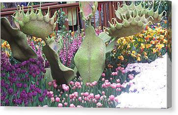 Canvas Print featuring the photograph Vegas Butterfly Garden Flowers Cactus Romanti Interior Decorations by Navin Joshi
