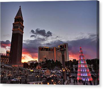 Las Vegas Canvas Print - Vegas Christmas Sunset 001 by Lance Vaughn