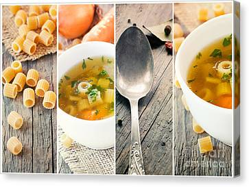 Vegetable Soup Collage Canvas Print by Mythja  Photography