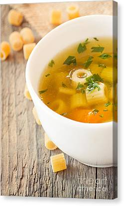 Vegetable Soup With Pasta Canvas Print by Mythja  Photography