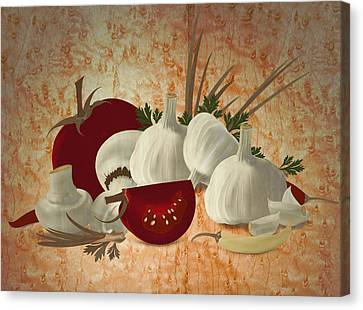Vegetable Still Life Marquetry Canvas Print