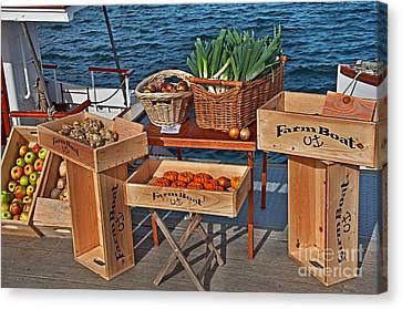 Vegetables At Floating Farmer's Market Canvas Print by Valerie Garner