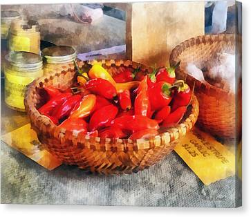 Vegetables - Hot Peppers In Farmers Market Canvas Print by Susan Savad