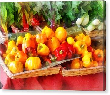 Vegetables - Peppers At Farmers Market Canvas Print by Susan Savad