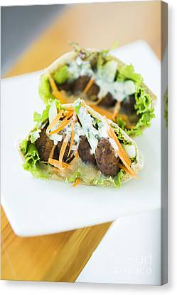 Vegetarian Falafel In Pita Bread Sandwich Canvas Print
