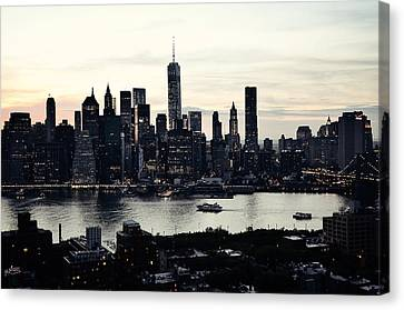Vehement Silhouettes Of Manhattan - That Vertical City With Unimaginable Diamonds Canvas Print by Natasha Marco
