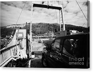 Lifeline Canvas Print - vehicle deck vehicles and vehicle loading ramp of the Caledonian MacBrayne MV Canna ferry by Joe Fox