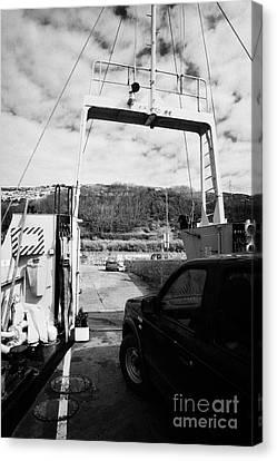 Lifeline Canvas Print - vehicle deck vehicles and vehicle loading ramp of the Caledonian MacBrayne MV Canna ferry rathlin by Joe Fox