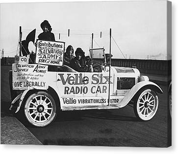 Salvation Army Canvas Print - Velie Six Radio Car by Underwood & Underwood