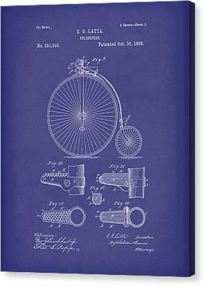 Velocipede Latta 1888 Patent Art Blue Canvas Print by Prior Art Design