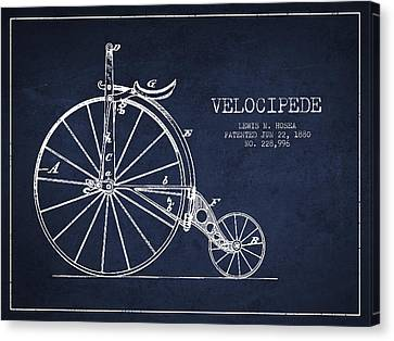 Velocipede Patent Drawing From 1880 - Navy Blue Canvas Print