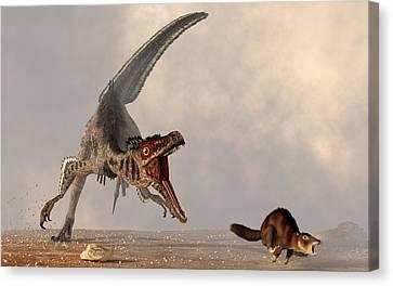 Velociraptor Chasing Small Mammal Canvas Print