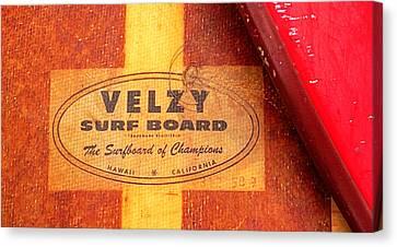Velzy Surf Board Canvas Print by Ron Regalado