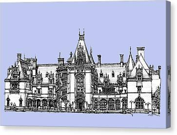 Venderbilt's Biltmore In Blue Canvas Print by Building  Art
