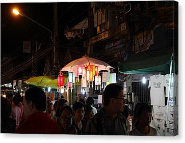 Vendors - Night Street Market - Chiang Mai Thailand - 011322 Canvas Print by DC Photographer