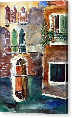 Venetian Canal Canvas Print by Michael Helfen