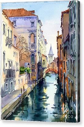 Venetian Canal V Canvas Print by Maria Rabinky