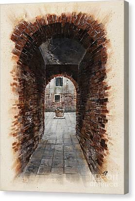 Canvas Print featuring the painting Venetian Courtyard 01 Elena Yakubovich by Elena Yakubovich