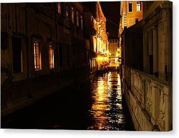 Canvas Print featuring the photograph Venetian Golden Glow by Georgia Mizuleva