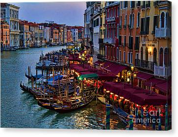 Venetian Grand Canal At Dusk Canvas Print by David Smith