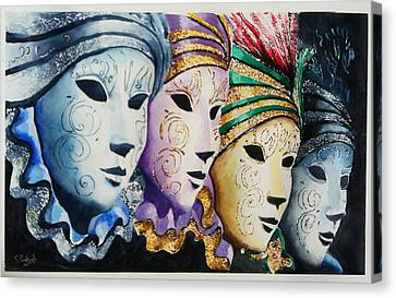 Canvas Print featuring the painting Venetian Masks by Steven Ponsford