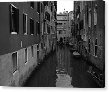 Venetian Monochrome Bw Canvas Print by Walter Fahmy