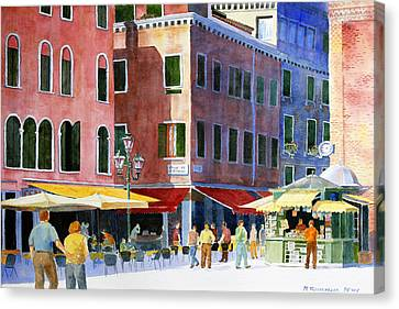 Canvas Print featuring the painting Venetian Piazza by Roger Rockefeller