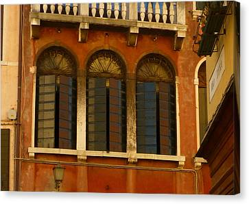 Sienna Italy Canvas Print - Venetian Shutters by Connie Handscomb