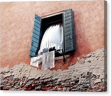 Canvas Print featuring the photograph Venetian Shutters by Micki Findlay