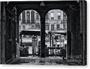 Venetian Street Black And White Canvas Print by Design Remix