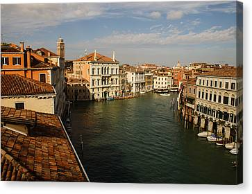Venetian View Of The Grand Canal  Canvas Print by Georgia Mizuleva