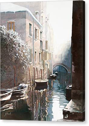 Venezia Sotto La Neve Canvas Print by Guido Borelli