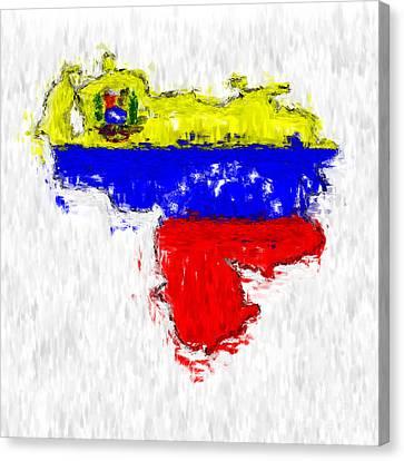 Venezuela Painted Flag Map Canvas Print by Antony McAulay