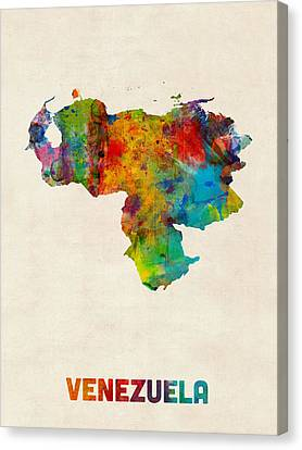 Venezuela Watercolor Map Canvas Print by Michael Tompsett