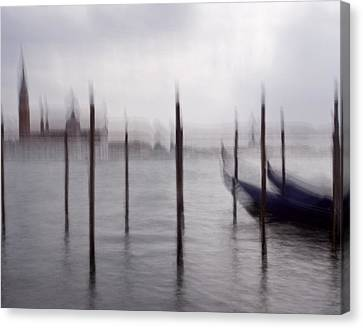 Canvas Print featuring the photograph Abstract Black And White Blue Venice Italy Photography Art Work by Artecco Fine Art Photography