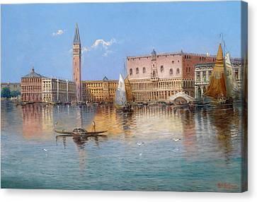 Venice. Acqua Alta In Piazza San Marco Canvas Print by Karl Kaufmann