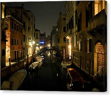 Canvas Print featuring the photograph Venice At Night by Silvia Bruno