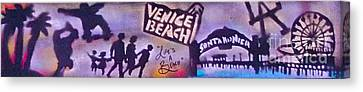 Venice Beach To Santa Monica Pier Canvas Print by Tony B Conscious